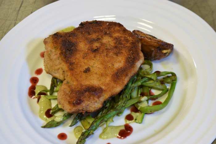 Pan Fried Pork Chop, Sous Vide, Asparagus Ribbons – LIPAVI